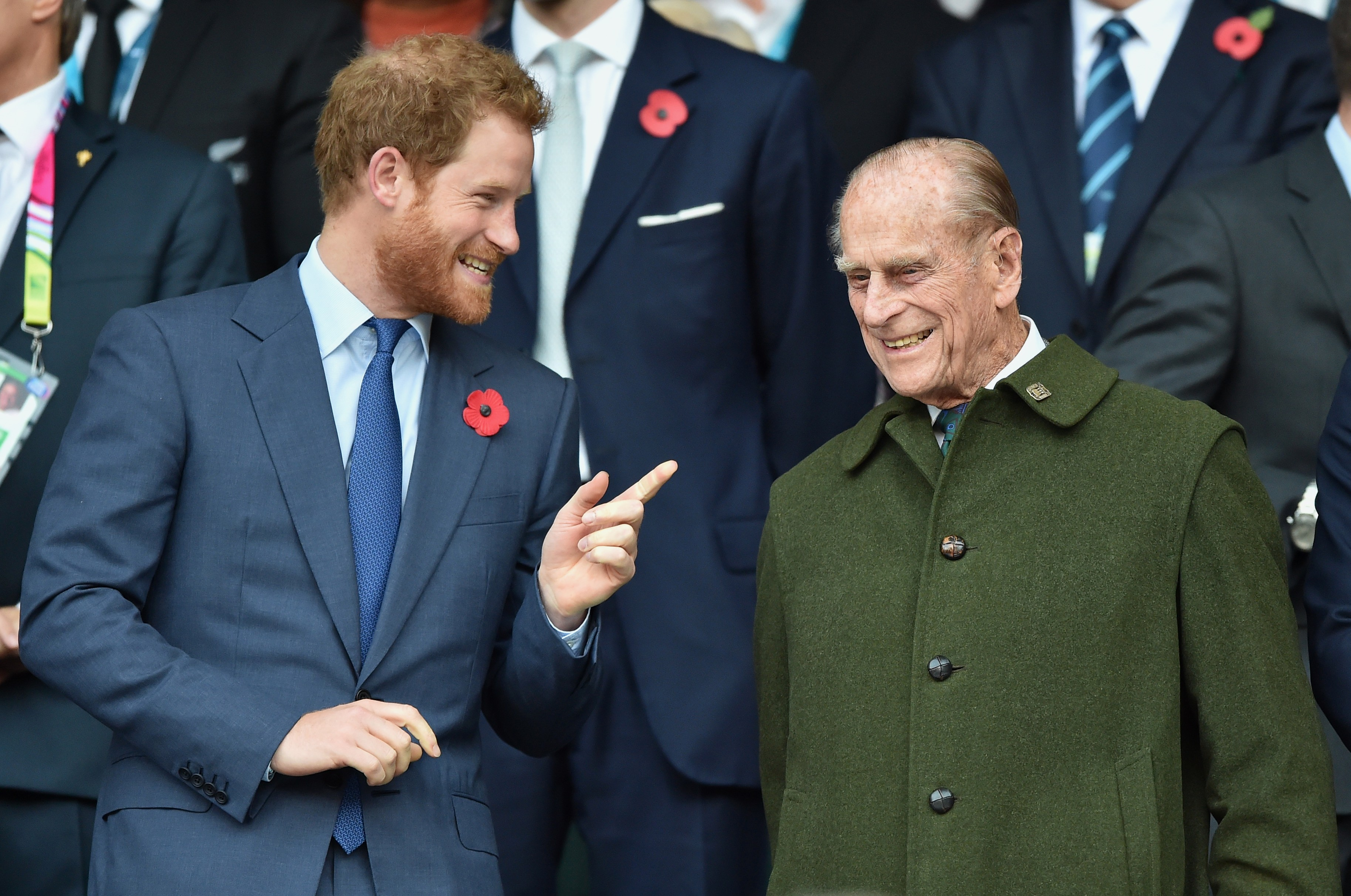 Prince Harry with his grandfather Prince Elizabeth 2nd husband Prince Philip at the 2015 Rugby World Cup Final between New Zealand and Australia (Photo: Getty Images)