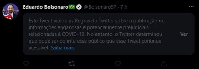 Tweet from Eduardo Bolsonaro