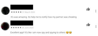 Comments from users who used spy monitoring apps and