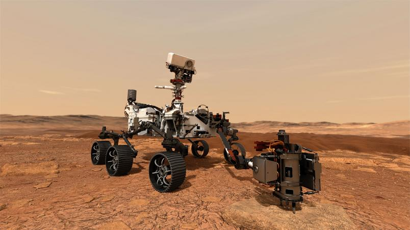 An illustration of the perseverance of drilling through rocks to collect samples from Mars