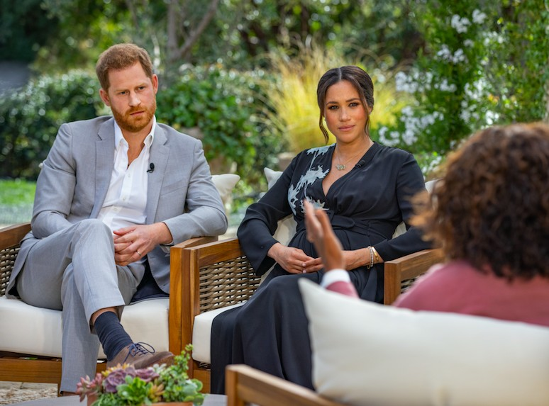 Presenter Oprah Winfrey interviewing actress Megan Markle and Prince Harry (Photo: Harpo Productions / Joe Buckleysi)