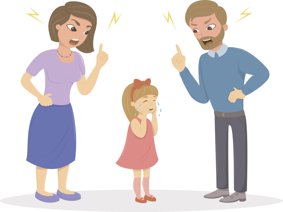 Parents abuse the girl.  Mom and Dad are angry screaming at a frightened child.  The characters are on a white background.  child abuse.