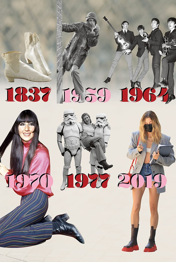 1837 A princess, literally 1959 deserves to stand up to not hiding any details, right Twiggy?  |  1964 Fitted Suit + Chelsea Boots were the Ministry of Defense Culture Uniforms |  1970 Cher and the fullness of the woman who wears what she loves and rocks |  1977 Carrie Fisher, Princess Leia, and Her Friends ~ Storm Soldiers |  2019 Hailey Bieber, who isn't ridiculous or anything, guaranteed her (Image: Getty Images)