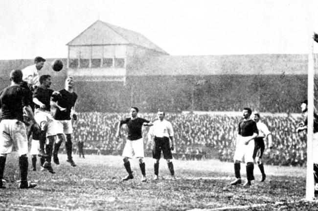 England play Scotland in soccer, in Bramall Lane, Sheffield, 1903. Vivienne Woodward