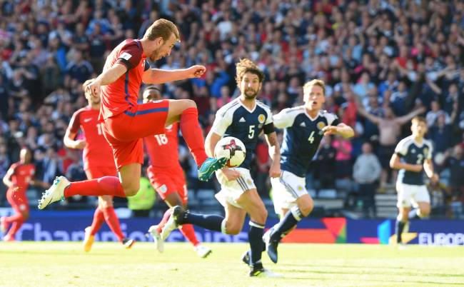 Harry Kane in a classic match against Scotland in 2017