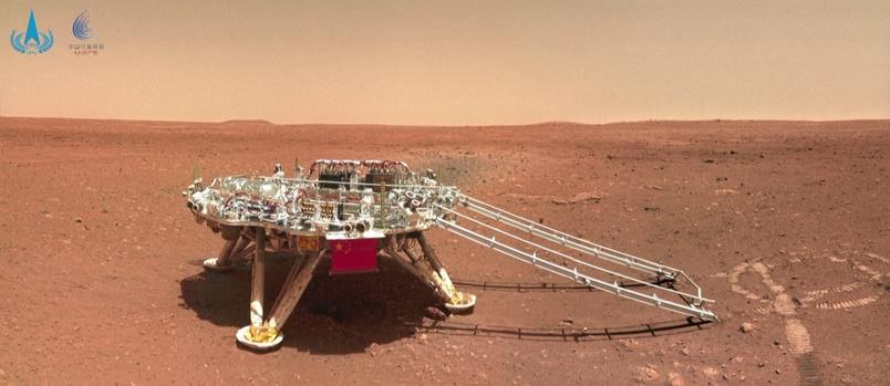 Panorama of the landing area of the Chinese probe Zhurong on the surface of Mars