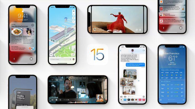 Header da página do iOS 15 no site da Apple