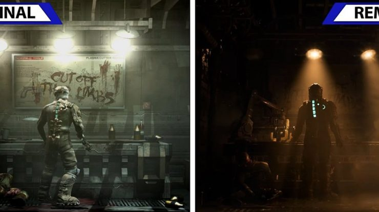 Compares the original Dead Space video with a remake;  See the differences in the setting