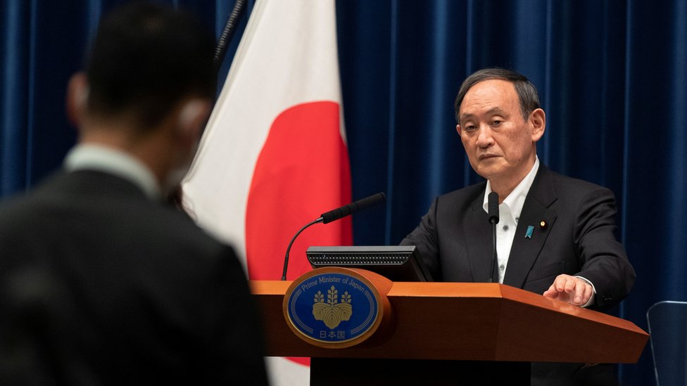 The Prime Minister, Yoshihide Suga, speaking in May 2021