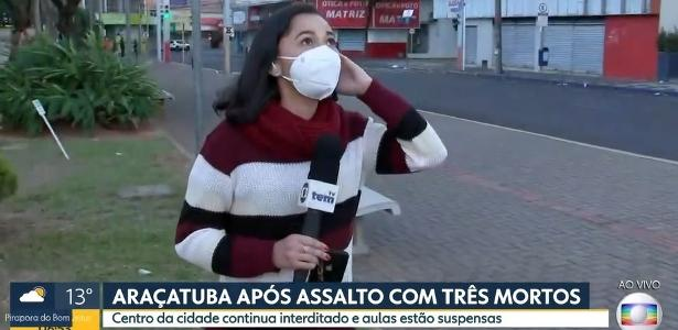 A reporter comes live on Globo and is stunned by the explosion