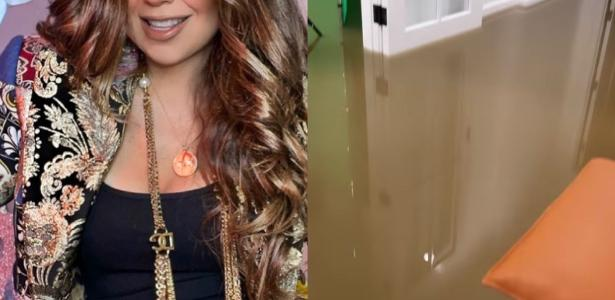 Thalia displays a rain-drenched mansion in the United States and compares it to the 'Titanic'