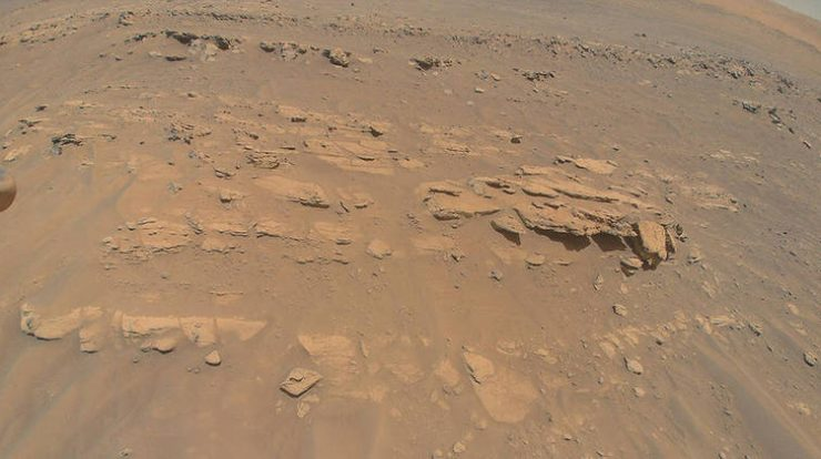 NASA helicopter takes a picture of Rocky Hill on Mars