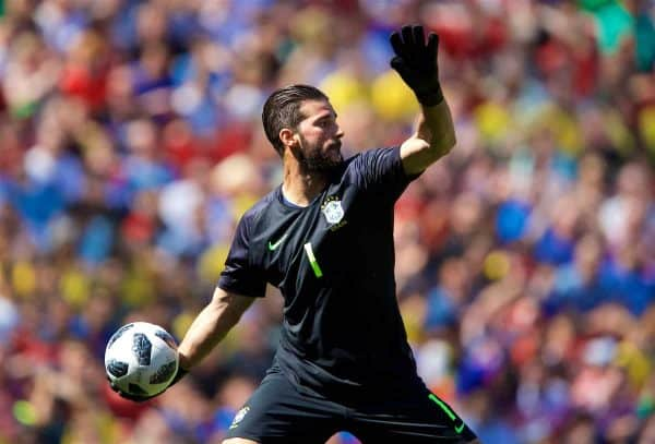 Liverpool, England - Sunday, June 3, 2018: Brazil goalkeeper Alison Becker during the international friendship between Brazil and Croatia at Anfield.  (Image by David Rockliff / Advertising)