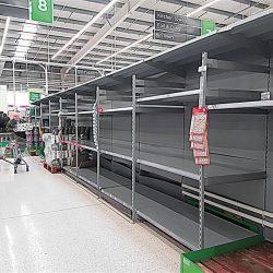 United Kingdom.  Supermarkets with empty shelves