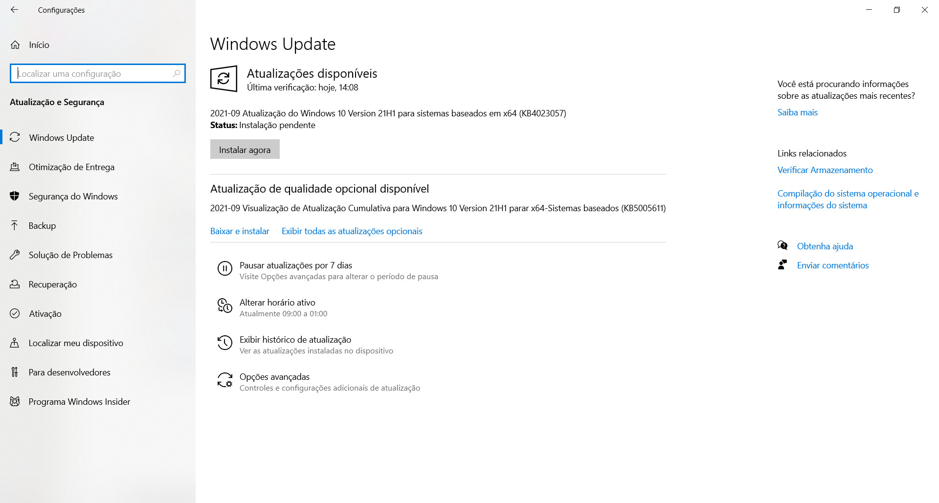 The KB5005611 patch must be installed manually.  (Source: Windows 10 / Reproduction)